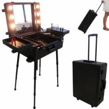Valise studio make up trolley, Table de maquillage Ampoules, Noire